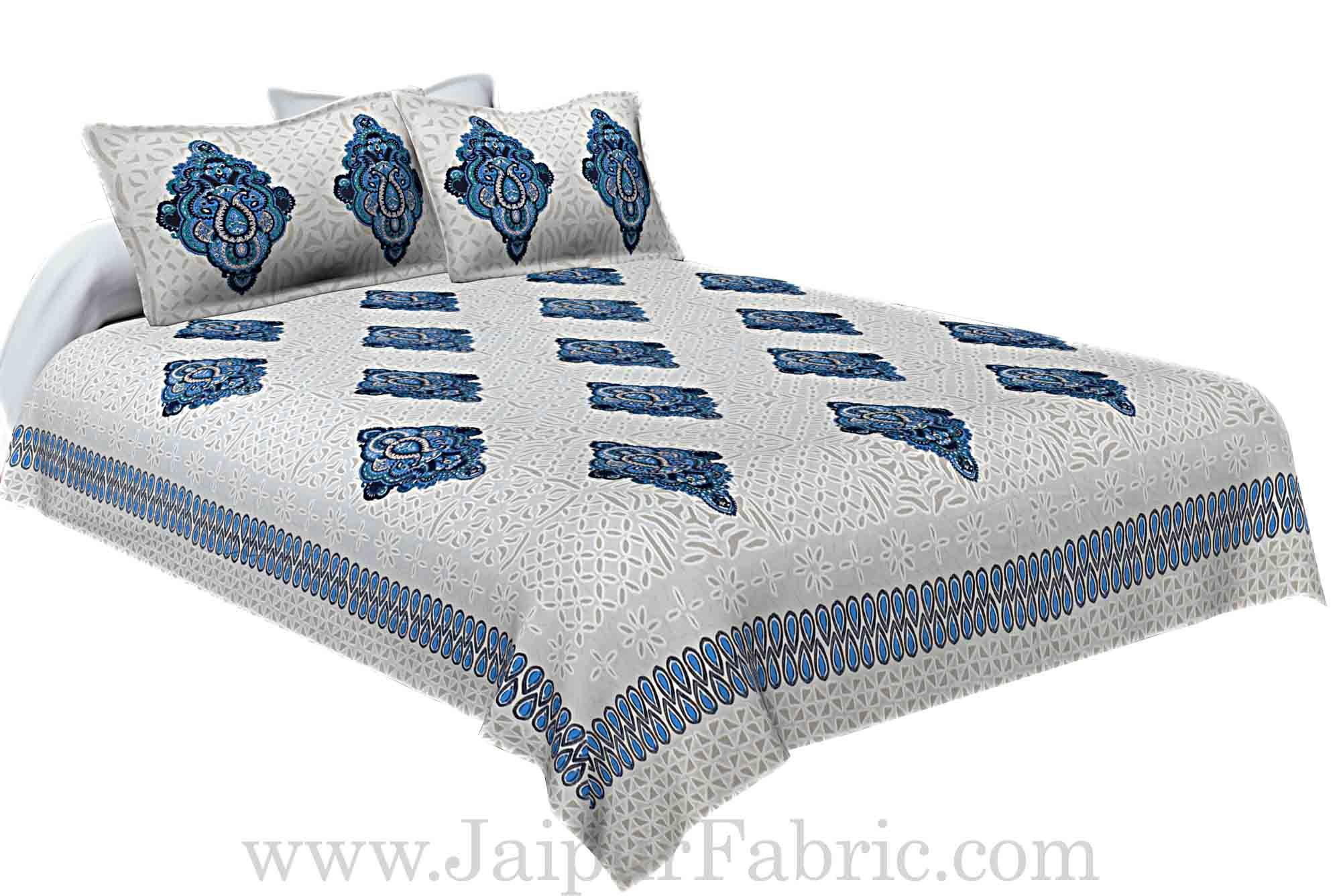 Double Bed Sheet White  Base With boota  Block  Print Super Fine Cotton