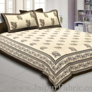 Dark Mehandi   Border Craem Base Dark Mehandi  Paisely Print Cotton Double Bed Sheet