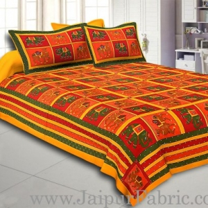 Yellow  Lining And Dotted Border Camel And Elephant Print In Sqare Pattern Cotton Double Bed Sheet