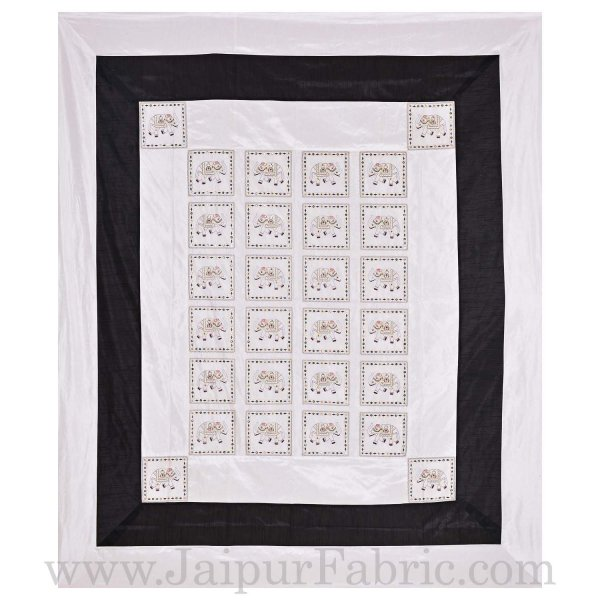 Black and White Elephant Thread And Mirror Work and Rajasthani Zari Work Double Bed Sheet