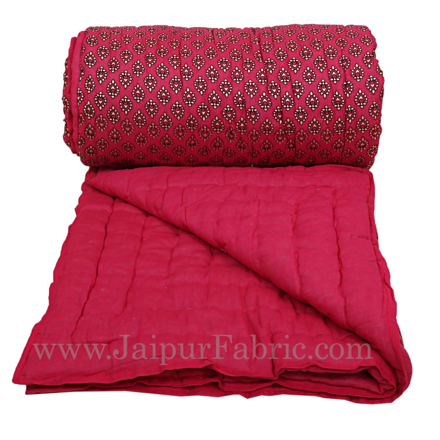 jaipuri Double Quilt Magenta (Rani) Base Golden Print Fine Cotton