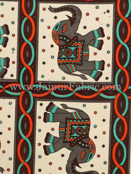 Dark Coffee Border Elephant Design Pure Cotton Double Bedsheet With Pillow Cover