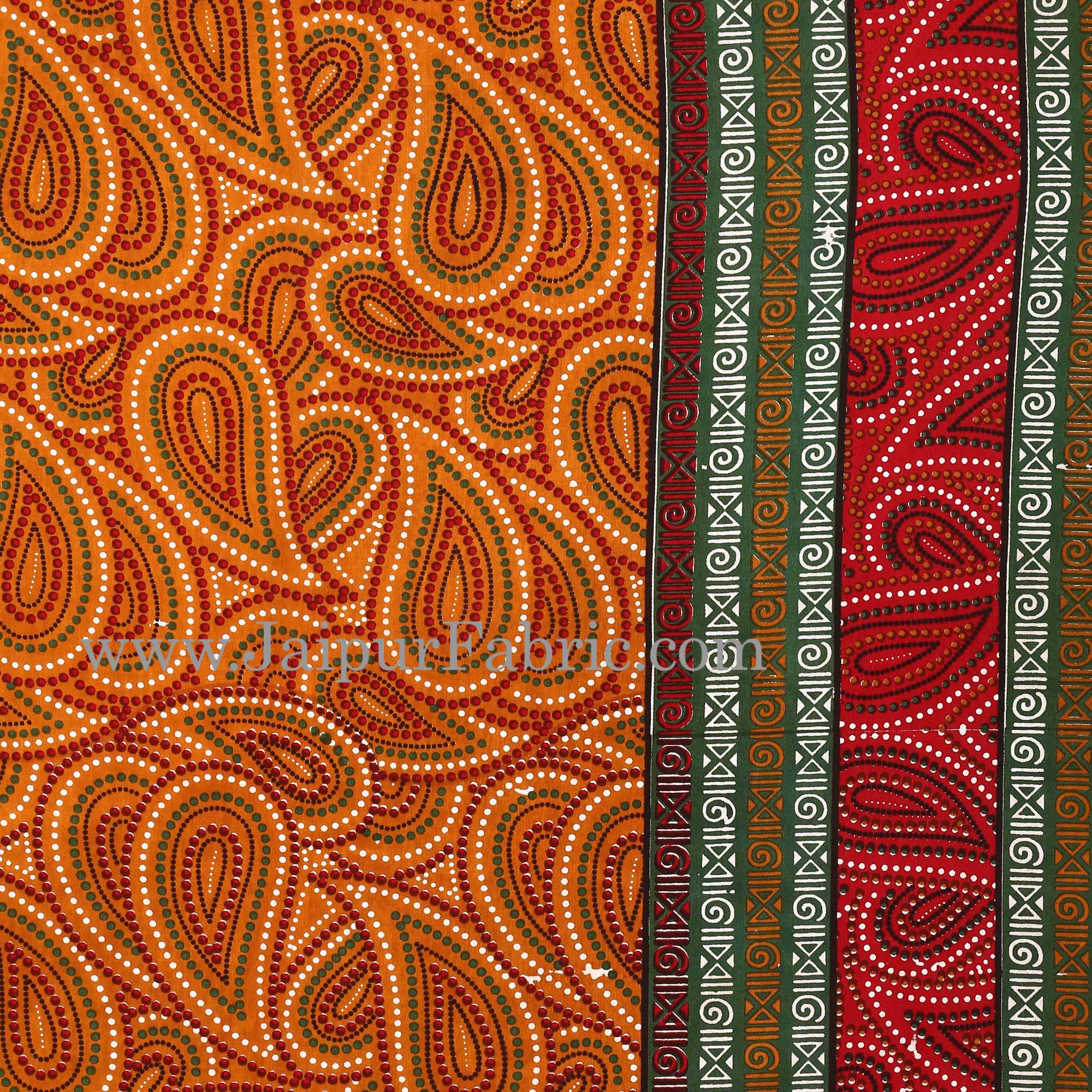 Brown Border Black Border Maroon Base Paisley Dotted Print Cotton Double Bed Sheet