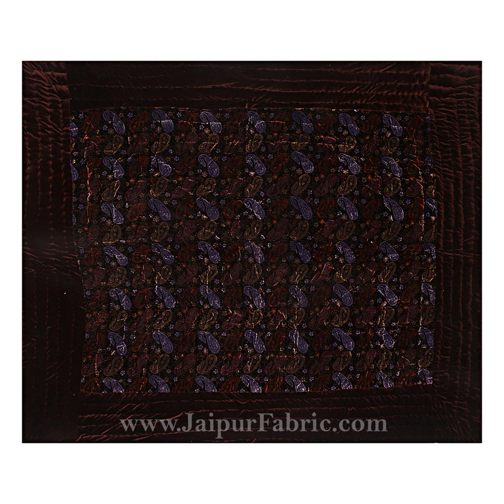 Velvet Cloth Double Bed Quilt Jaipuri Razai Paisley Brown Shaneel Rajai by Jaipur Fabric