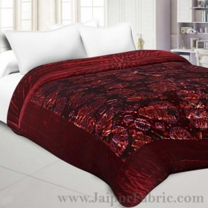 Velvet Cloth Double Bed Quilt Jaipuri Razai Dark Maroon Shaneel Rajai by Jaipur Fabric