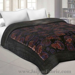 Velvet Cloth Double Bed Quilt Jaipuri Razai Dark Brown Shaneel Rajai by Jaipur Fabric