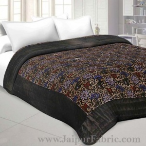 Velvet Cloth Double Bed Quilt Jaipuri Razai Floral Brown Shaneel Rajai by Jaipur Fabric