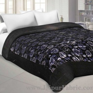 Velvet Cloth Double Bed Quilt Jaipuri Razai Black Shaneel Rajai by Jaipur Fabric