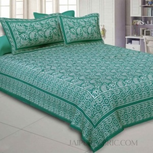 Aqua Kingdom Green Double Bedsheet