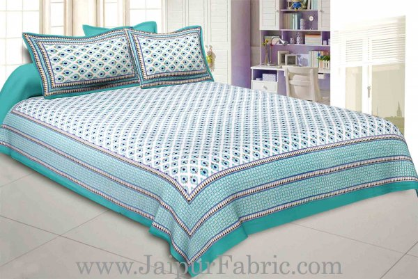 Aqua Green Feathers Double Bedsheet