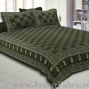 Double Bedsheet Green Border Small Leaf Print With Two Pillow Cover