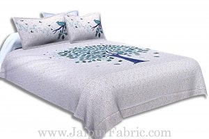 Twill Cotton Double Bedsheet Blue Spring Tree