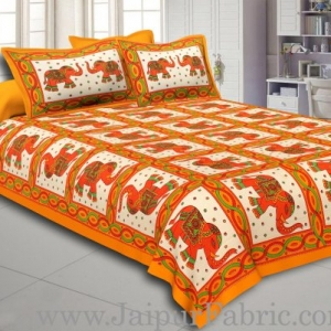 Yellow Border Elephant Design Pure Cotton Double Bedsheet With Pillow Cover