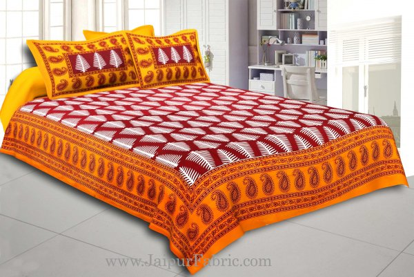 Yellow Border  Maroon Base White Large Leaf  Cotton Double Bed Sheet