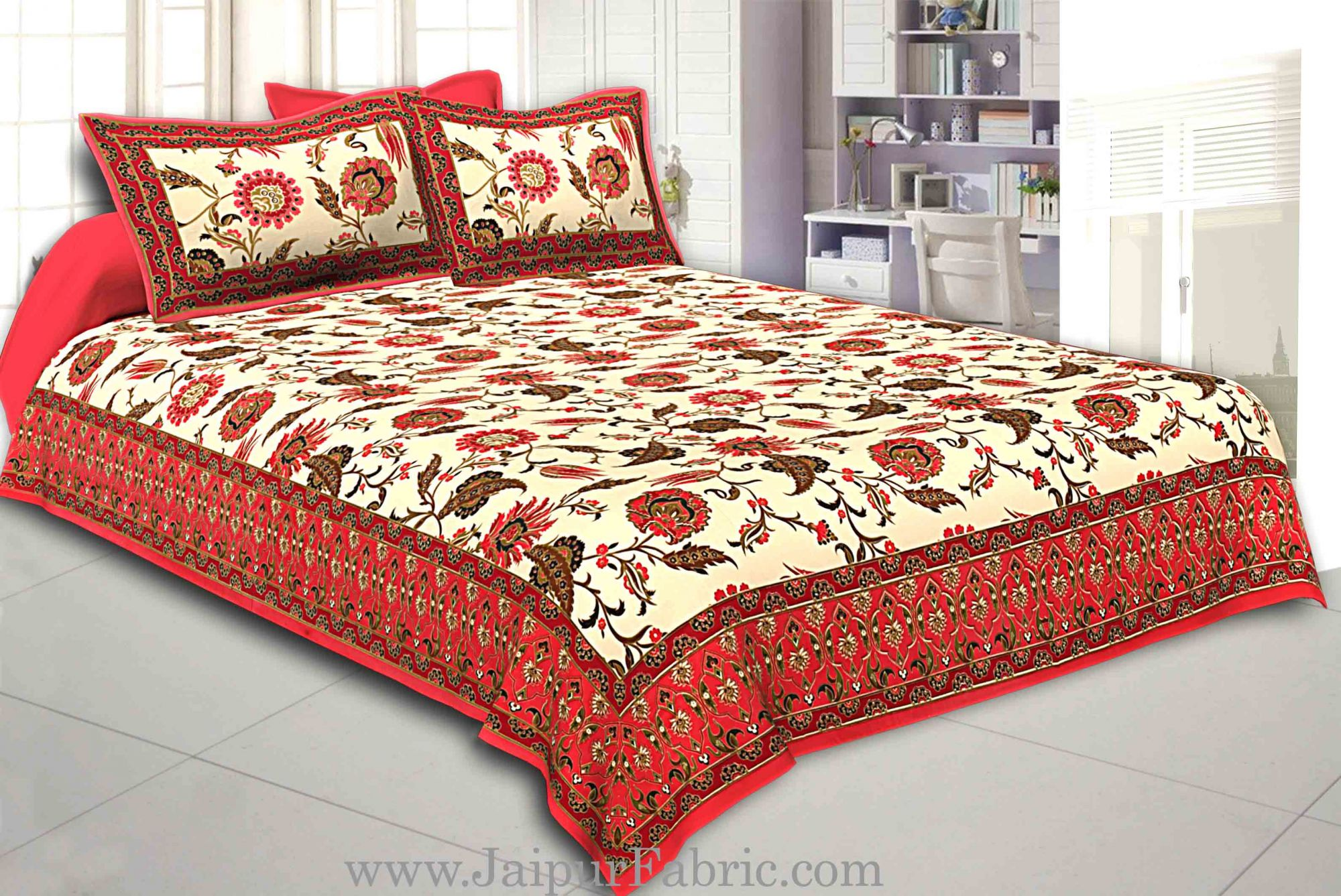 Red Border Multi Floral Golden Print Fine Cotton Double Bedsheet With Two Pillow