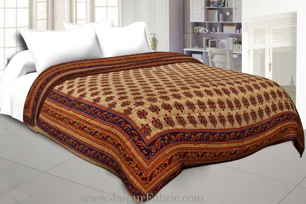 Navy Blue And Light Brown Base   Bel Boota Print Both Side Printed Cotton Double Quilt