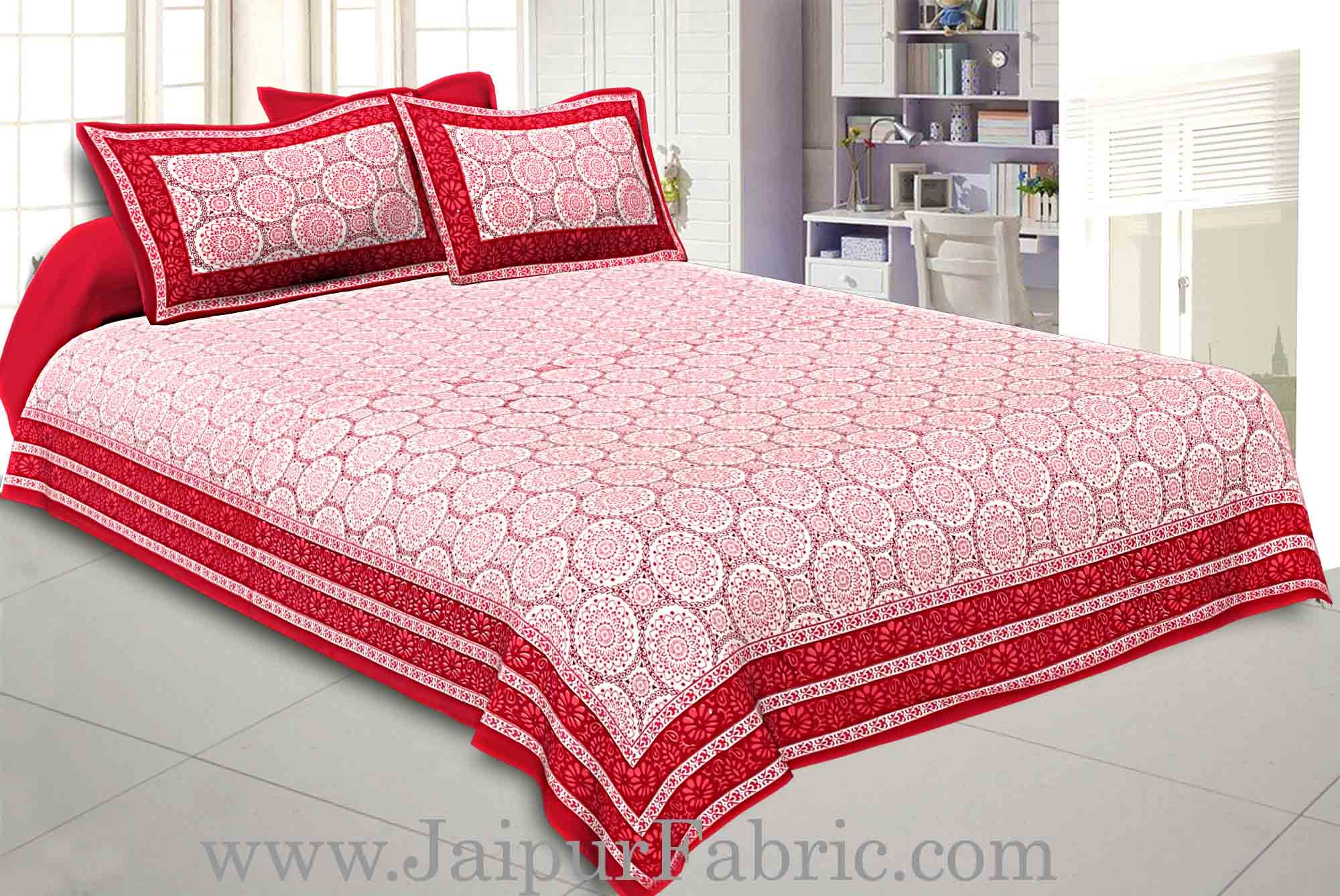 Double Bedsheet Maroon Border Rangoli Print With Two Pillow Cover