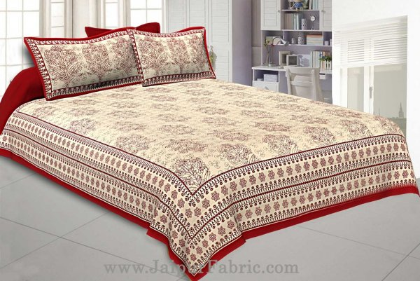 Maroon Gamla block Double Bedsheet With 2 Pillow covers