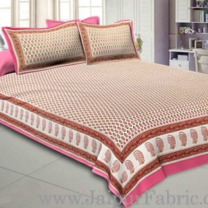 Double Bedsheet Rose Pink Seamless Geometric Floral Gold Print With 2 Pillow Covers