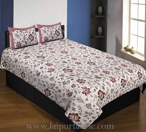 Pure Cotton 240 TC Single bedsheet in reddish floral pattern