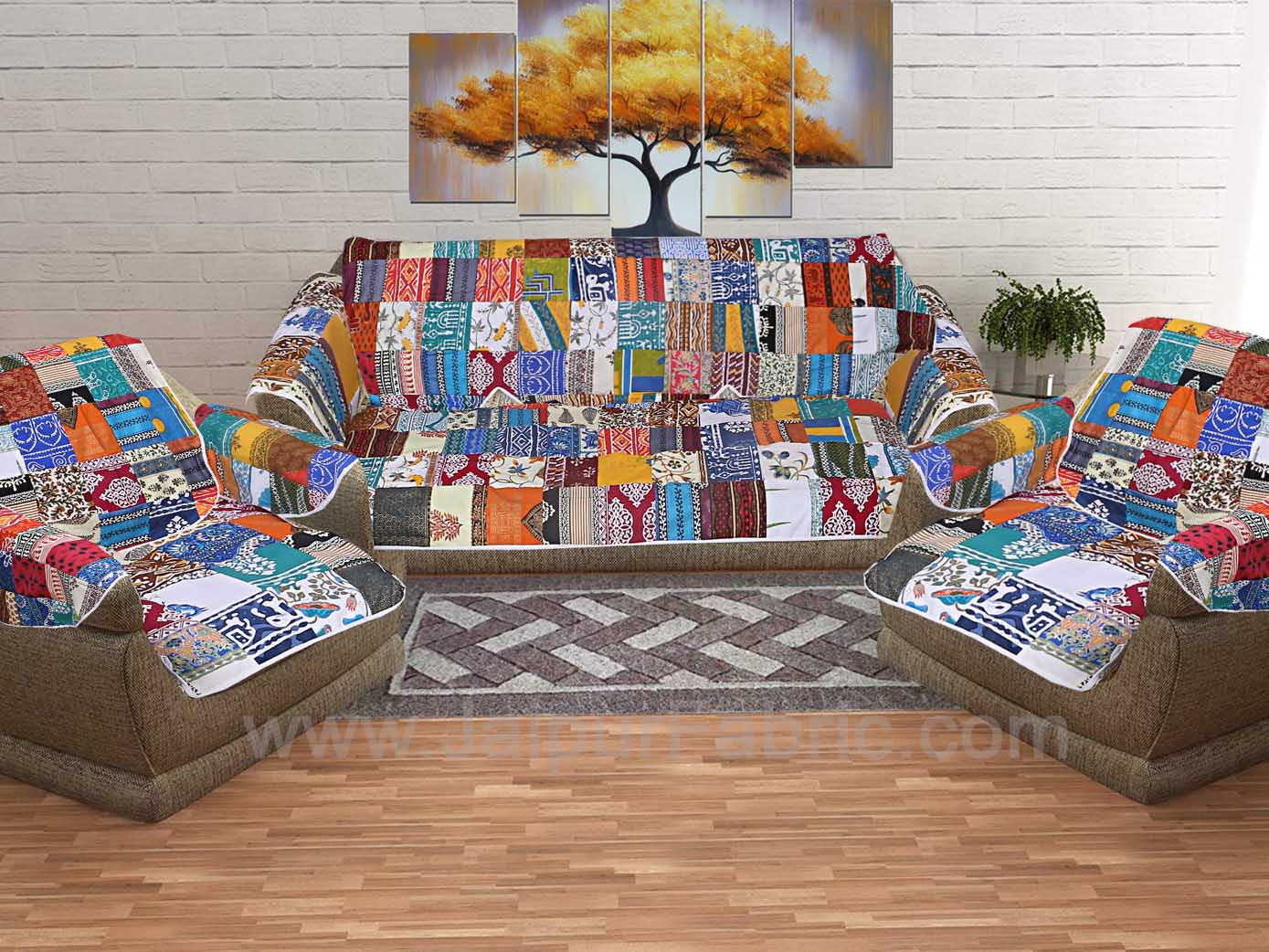 Mix Tukdi Superfine Cotton Golden Multi Patchwork Sofa Set Cover