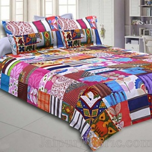 Mix  Small Tukdi Double Bedsheet With 2 Pillow Cover