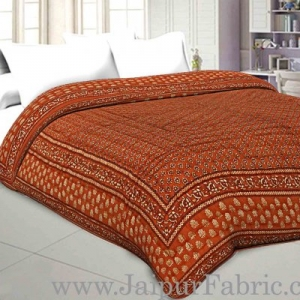 Jaipuri Double Quilt/Razai Bricks Color Golden Print