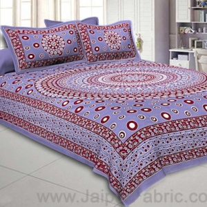 Double Bedsheet Gray Color  Rangoli Pattern Smooth Touch With 2 Pillow Cover