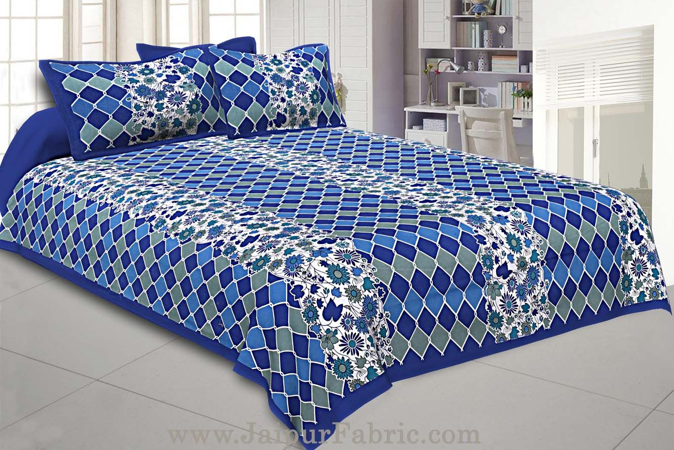 Floral Double Bedsheet Blue border with 2 Pillow Covers