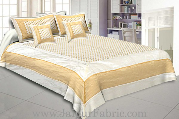 Chanderi Double Bedsheet With  Golden Weave Work  Small Booti