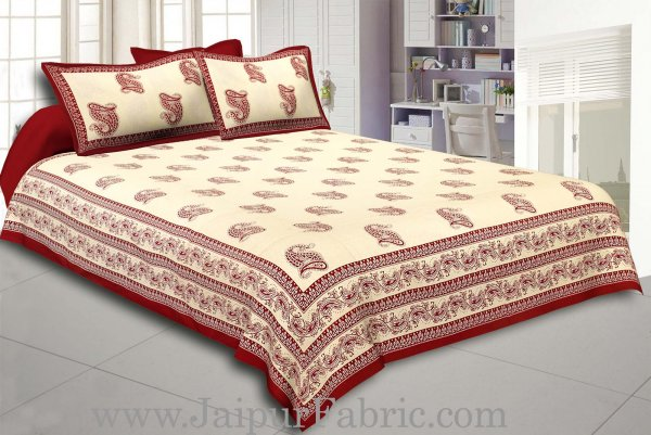 Maroon Border Cream Base Maroon Paisley Print Cotton Double Bed Sheet