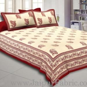 Maroon Border Craem Base Maroon Paisely Print Cotton Double Bed Sheet