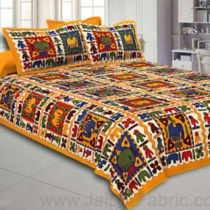 Yellow Border Elephant Pattern Screen Print Double Bed Sheet