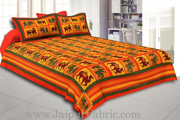 Orange  Lining And Dotted Border Camel And Elephant Print In Square Pattern Cotton Double Bed Sheet