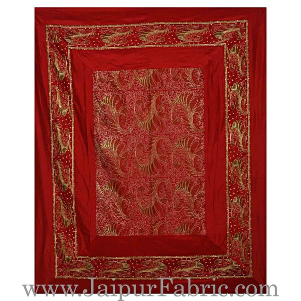 Silk Bed Sheet  Maroon Color With Lace Work Superfine bed cover