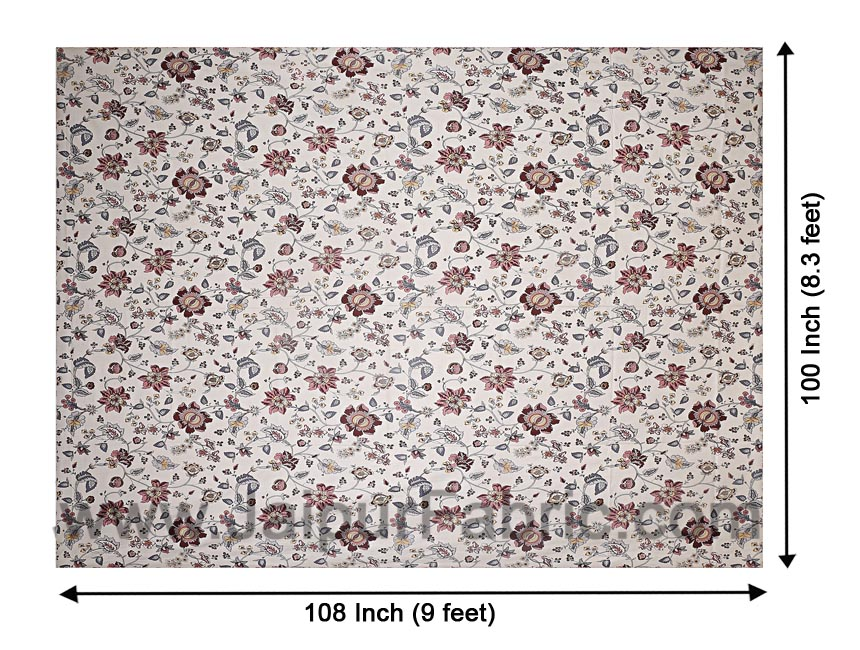 Pure Cotton 240 TC Double bedsheet in reddish floral pattern