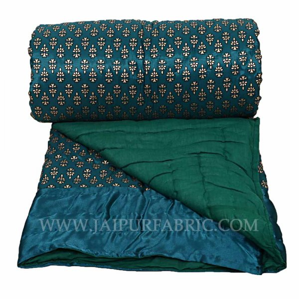 Jaipuri Single Quilt/Razai  Dark Green Golden Print