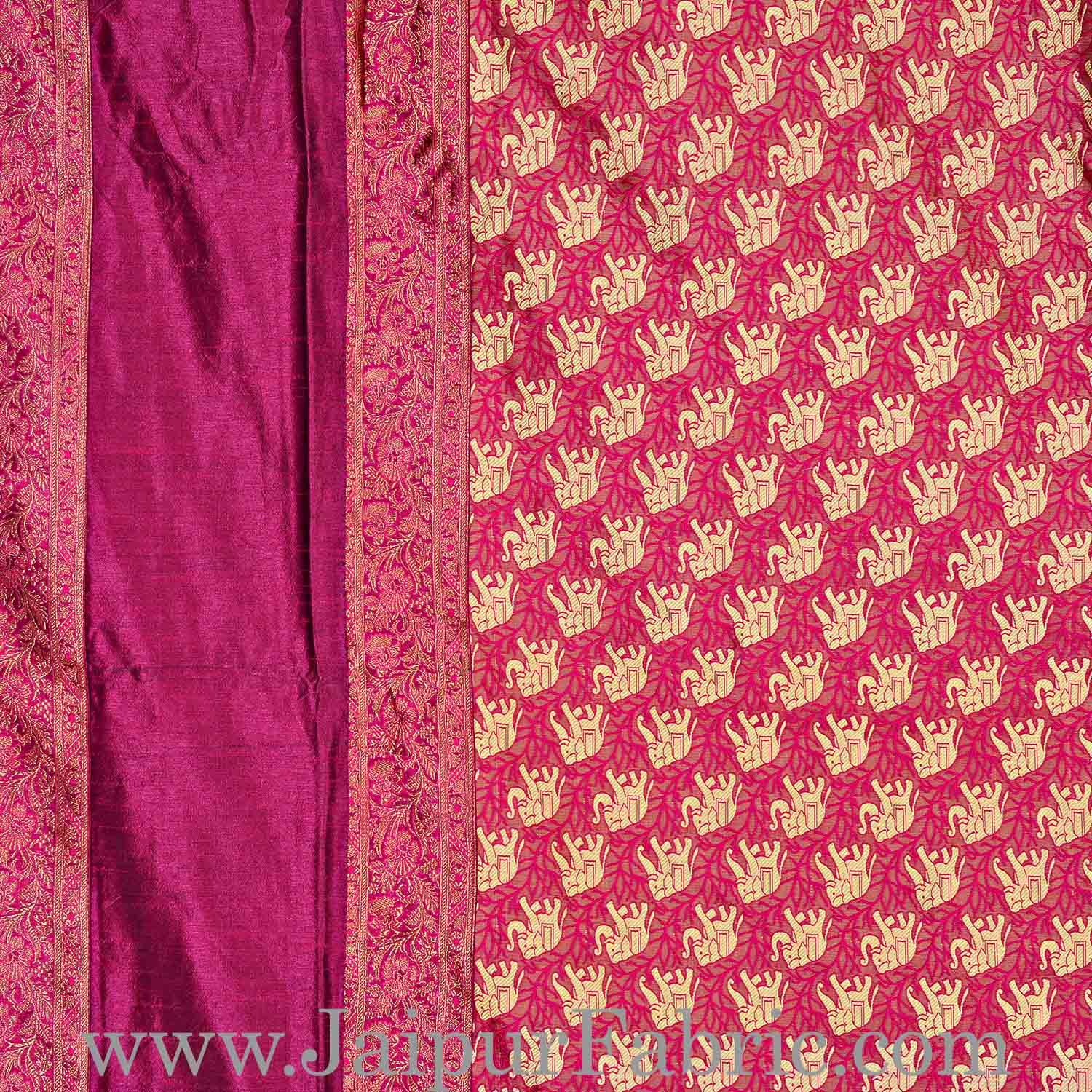 Maroon Rajasthani Zari Embroidered Lace Work Silk Double Bed Sheet