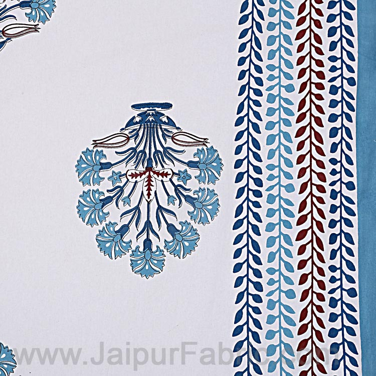 Double bedsheet Carolina Blue Flower Bunch Hand Block  Print
