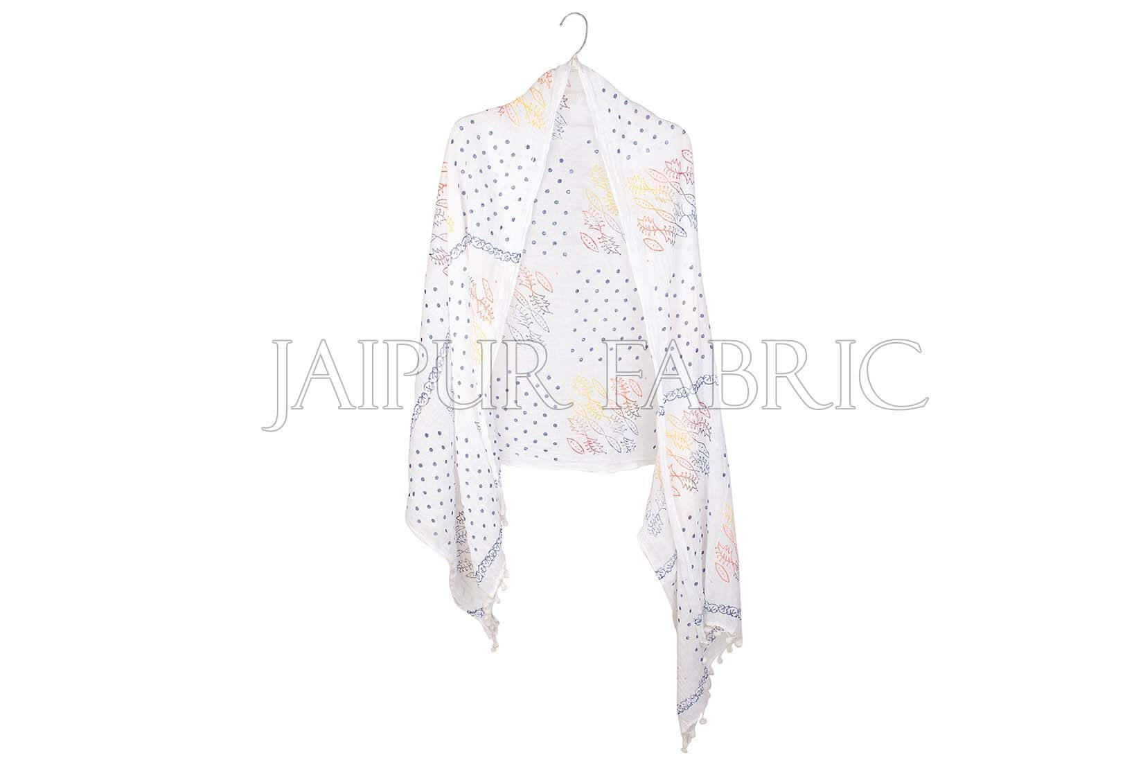 White Printed Stole