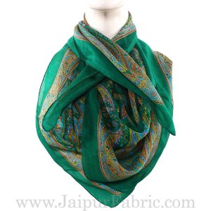 Silk Scarf Green Border Paisley Print