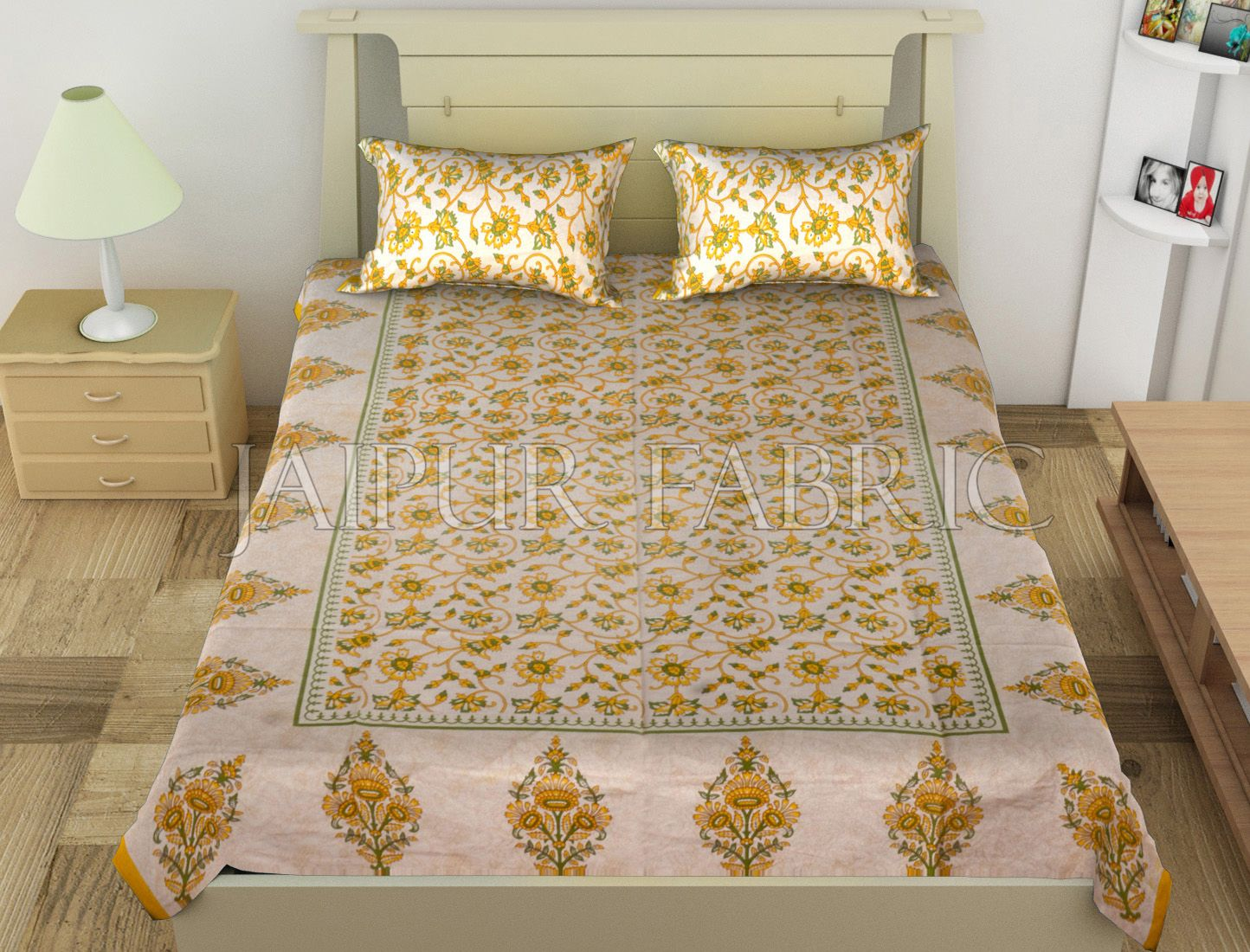 Yellow Border Anthemion Pattern Cotton Single Bed Sheet