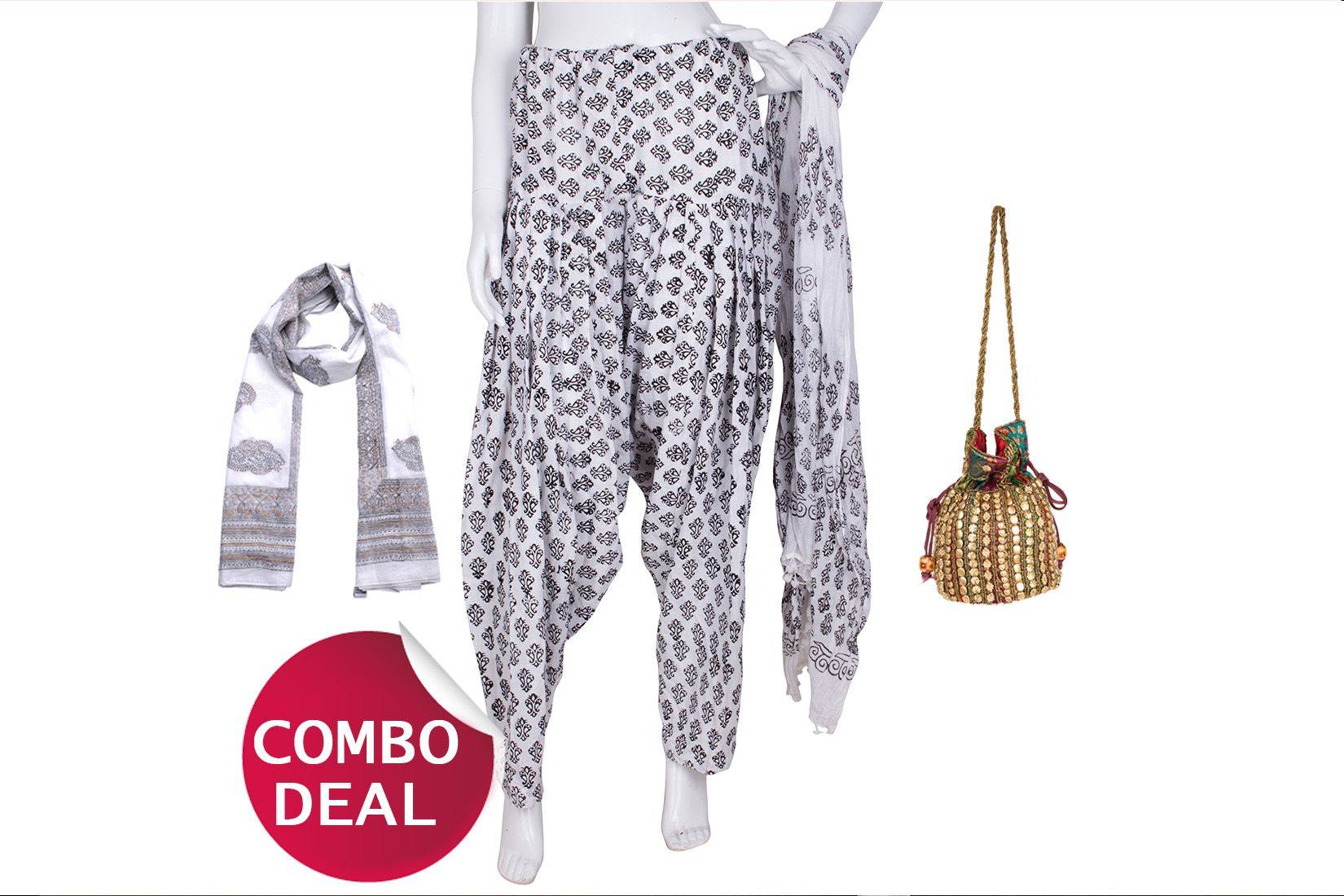 COMBO2 - Set of Scarf, Salwar, Dupatta and Potli Bag