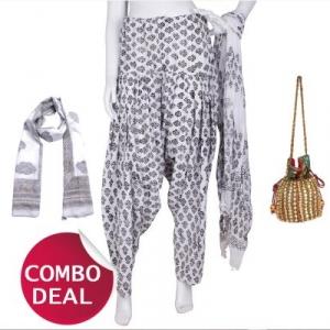 COMBO2 - Set of Scarf, Salwar, Dupatta and Potli Bag