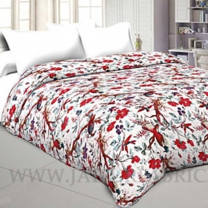 Cream Color birds on tree smooth touch multi use comforter