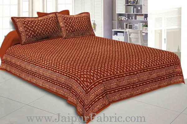 Double Bedsheet Brown Border Small Leaf Print With Two Pillow Cover