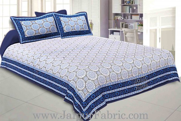 Double Bedsheet Navy Blue Border Small Rangoli Print With Two Pillow Cover