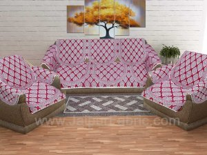 Maroon Superfine Cotton Block Print Sofa Set Cover