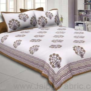 Double bedsheet Tortila Brown Flower Bunch  Hand Block Print