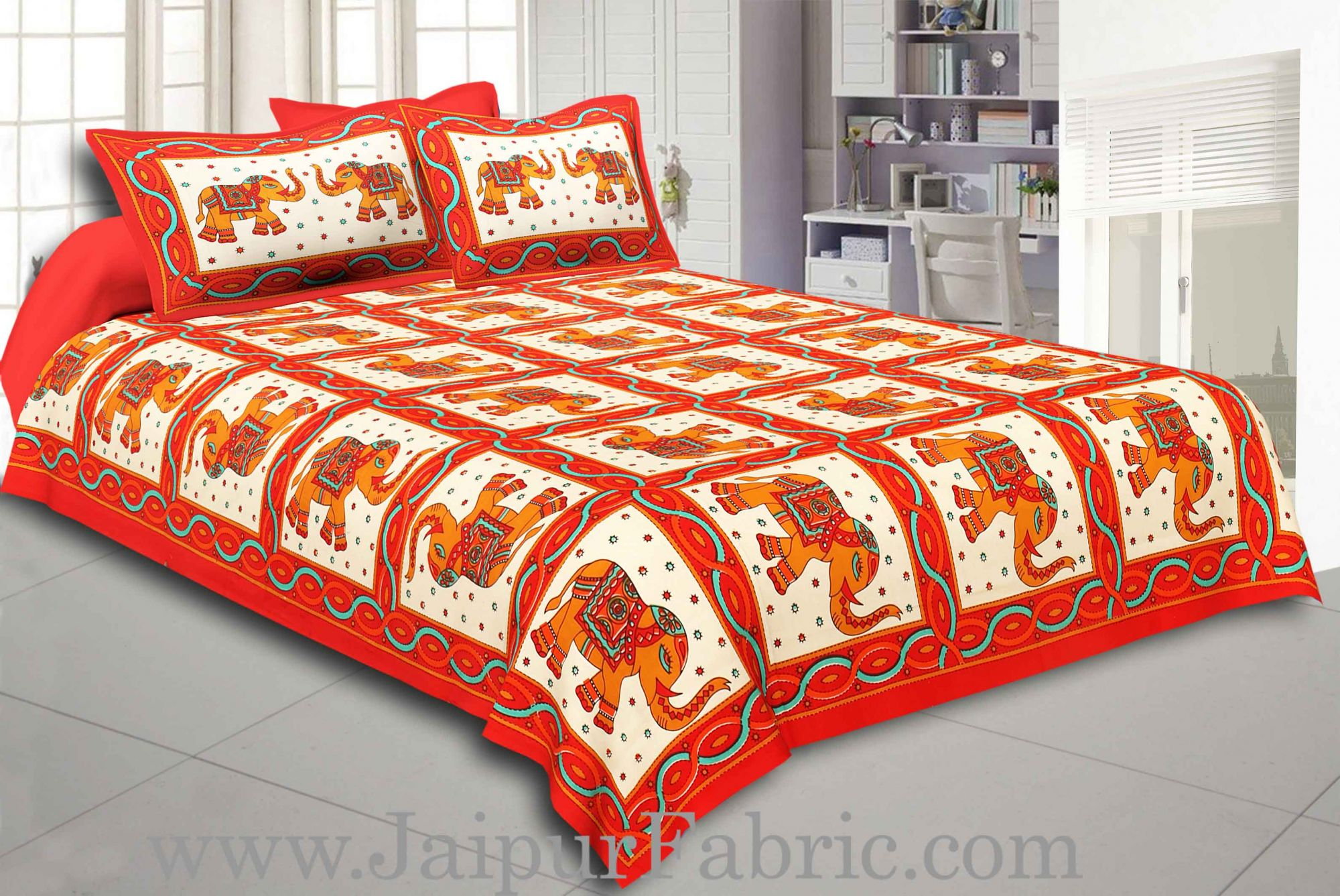 Maroon Border Elephant Design Pure Cotton Double Bedsheet With Pillow Cover